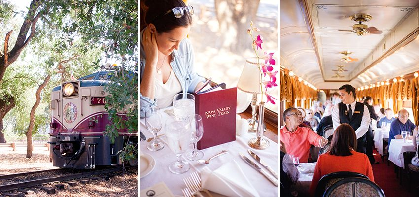 The Napa Valley railroad dates back to 1864. Passengers enjoy a gourmet meal during the three-hour round-trip from Napa to St. Helena. Photo: Jennifer Martiné