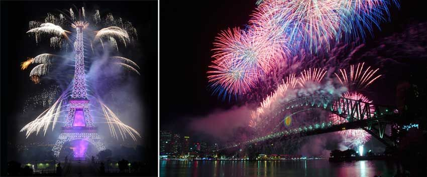 Left: The National Celebration, Bastille Day, on July 14, Paris. Photo: Getty Images. Right: Australia Day with legendary Australian fireworks. Photo: Shutterstock