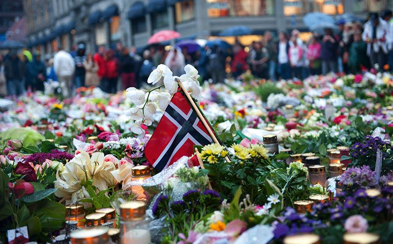 Oslo Domkirke, the Oslo city cathedral, became a focal point for memorials to the victims of the terror attack. Photo: IBL