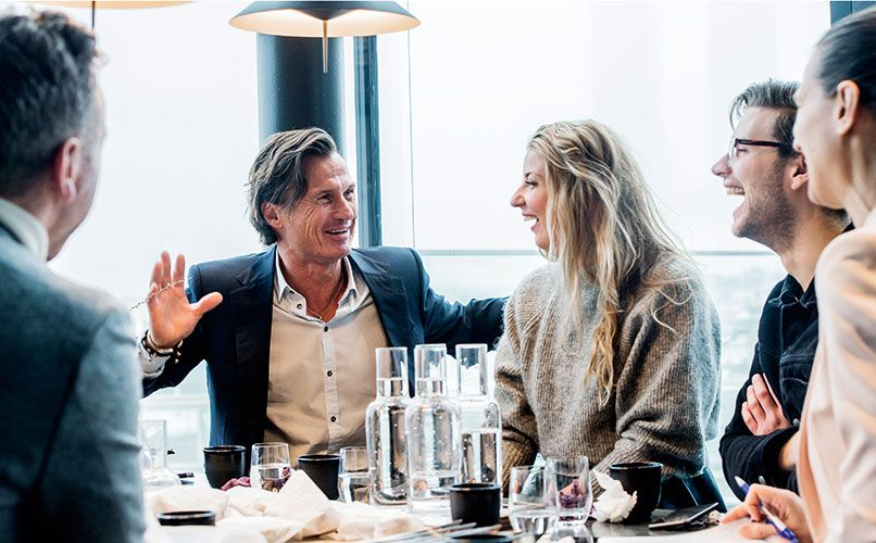 A lunch full of laughs with Frida Ronge, Tak's culinary leader, and Mattias Stengl, general manager at Hobo Hotel. Photo: Magnus Liam Karlsson