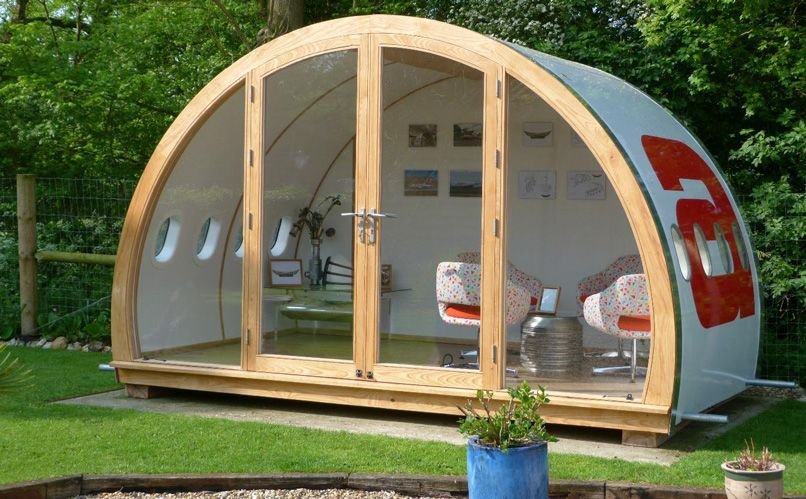 A DappR Aviation Aeropod, used as a garden room.
