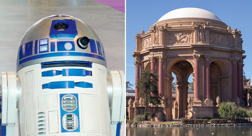 The Palace of Fine Arts is said to have inspired the shape for R2-D2, while bounty hunter Boba Fett's ship looks like the shape of a street lamp outside the designers' office.