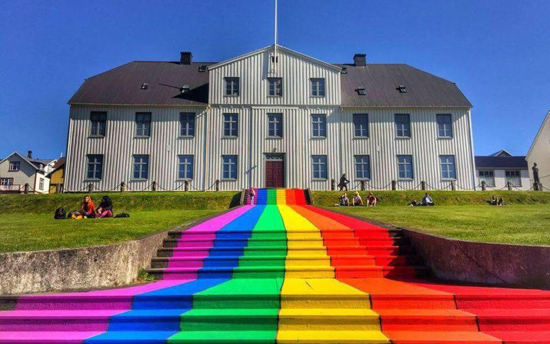 Rainbow painted stairs in Reykjavik during Pride 2016.