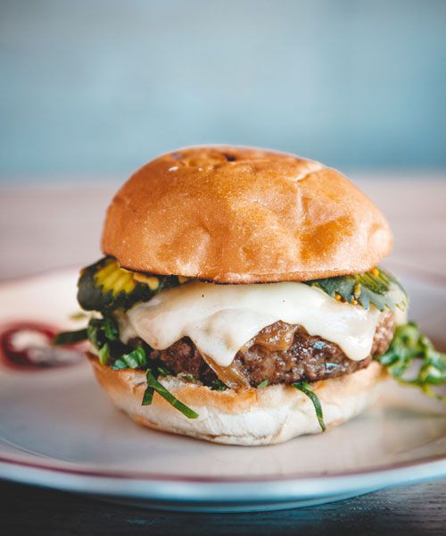 Nora Haron's burger – 60/40 blend of beef and mushroom. Photo: Marc Olivier Le Blanc