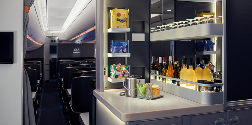 The self-service refreshment area for SAS Business travelers.