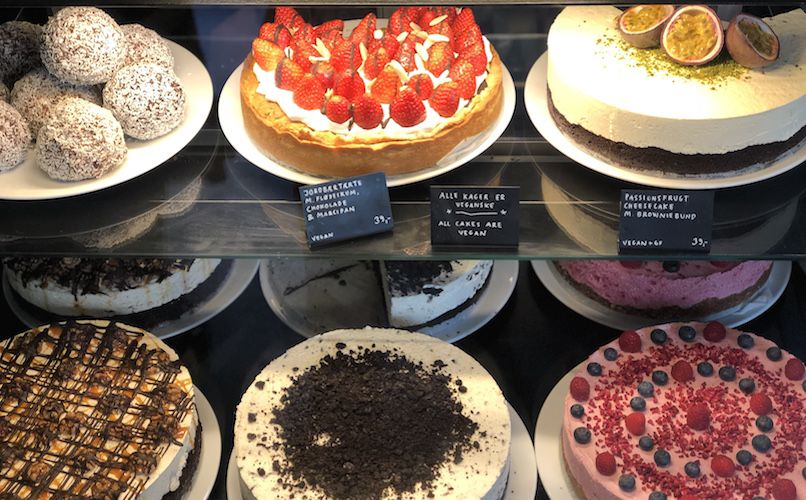 A vegan diet can also include cakes and pastries. These cakes from Café Kaf, a vegan patisserie in Copenhagen, include cream made from cashew nuts. Photo: Lise Hannibal