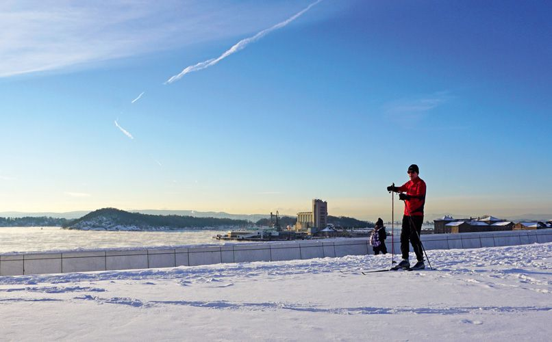 Urban skiing on the rooftop of the Oslo Opera House. Photo: VISITOSLO/Tord Baklund