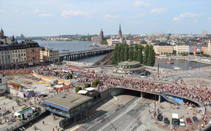 Stockholm Pride 2014 from above at Slussen. Photo: Shutterstock