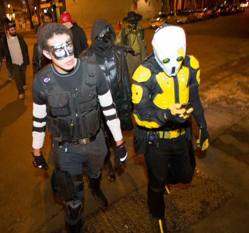 They call themselves Real Life Superheroes. Above, a Wisconsin group, the Challengers, is out patrolling the streets of Madison.
