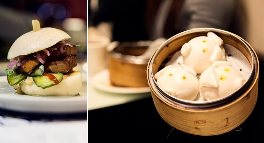 Left: Pork belly bao at the aptly named Little Bao. Right: Dumplings at Dim Dim Sum. Photo: Martin Adolfsson