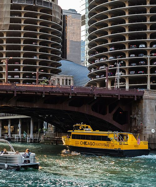 A water taxi, seen from the riverwalk. Photo: Scott Thompson