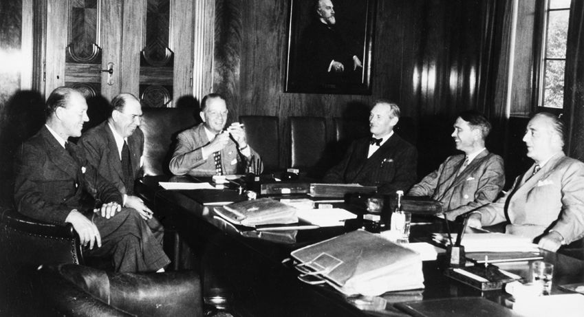 The first meeting in the working committee after the establishment of SAS in 1946-08-01, Oslo.
