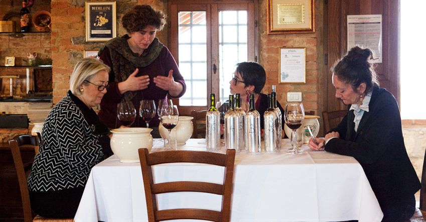 Twice yearly wine tastings are held by Cinelli Colombini's all-female tasting committee. Photo: Johanna Ekmark