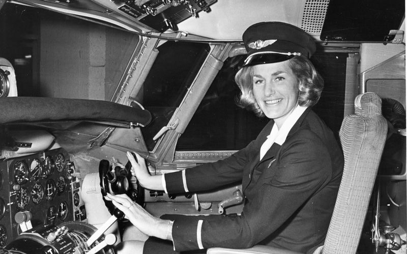 Turi in the cockpit as a jet co-pilot in 1972.