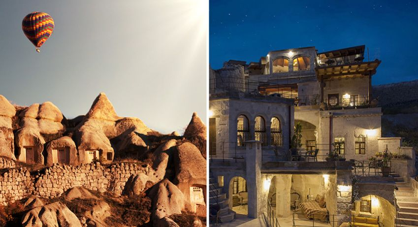 Right: The romantic Gamirasu Hotel which is housed in a thousand-year-old Byzantine monastery. Left: The beautiful Aydinli Cave House in Göreme. Photo: Shutterstock