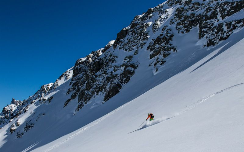 The last leg of the adventure -  Flurin on his way down to Engelberg from Grassen. Photo: Johan Axelsson