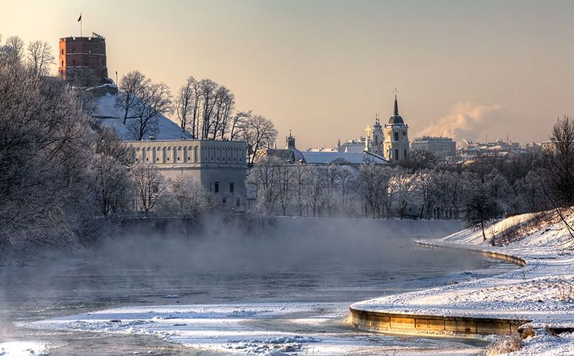 A winter view in Vilnius, Lithuania