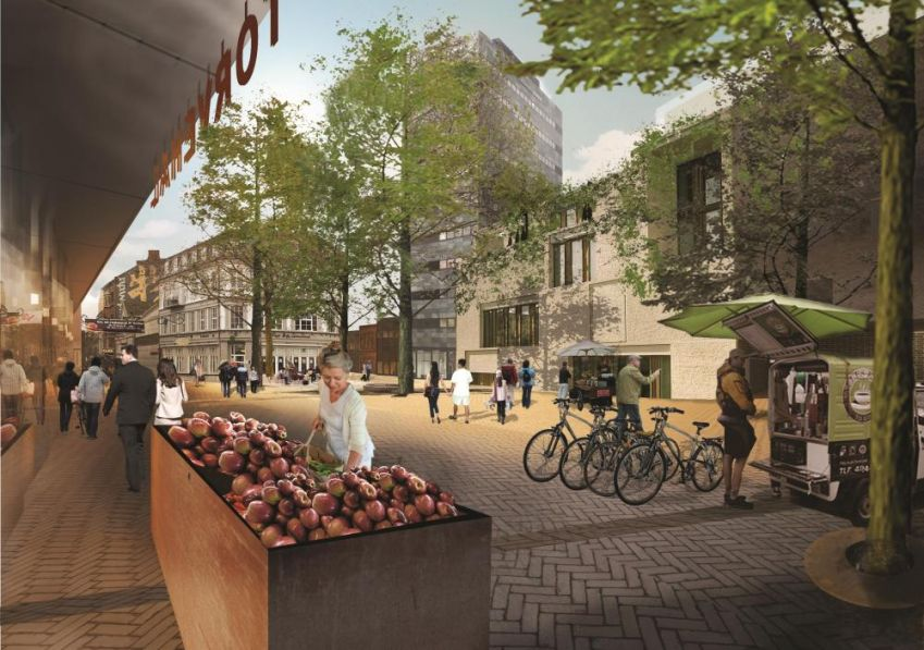 Visualization of the new urban block with food markets which will be located where Thomas B. Thriges street once was. Photo: fragadetilby.dk