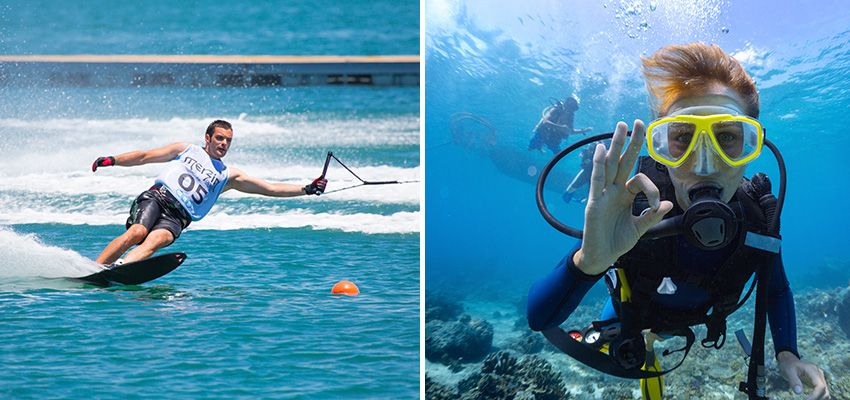 More traditional water sports are water skiing and Scuba diving.