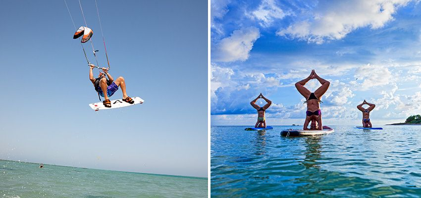 Kitesurfing and SUP yoga – it's yoga on a standup paddleboard.