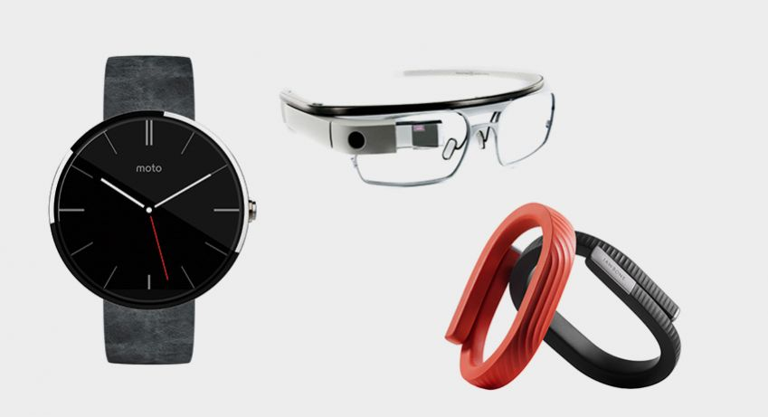 From left: Moto 360 wristwatch by Motorola, Google glass, Jawbone Fitness tracker