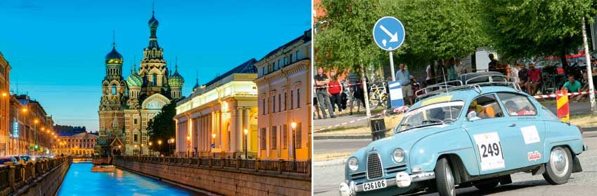Left: Late night romance in St. Petersburg. Photo: Shutterstock. Right: Classic cars at midnight in Västerås. Photo: Msr