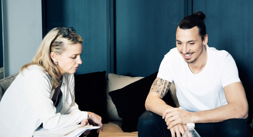 Zlatan being interviewed by Camilla Tollstoy. Photo: Karl Nordlund
